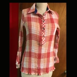 Soft Surroundings Red Plaid Squinchy Blouse S